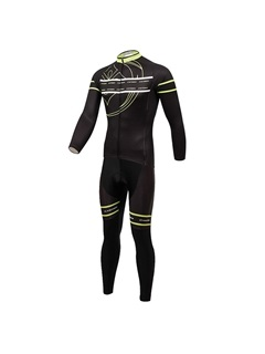 Form-Fitting Full-Zip Black Cycling Outfit