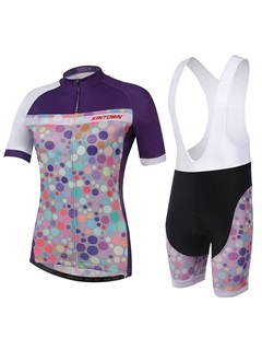 Polyester Polka-Dots Women Cycle Jersey And Bib Shorts