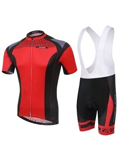 Red Short Sleeve Mens Cycling Jersey And Bib Shorts
