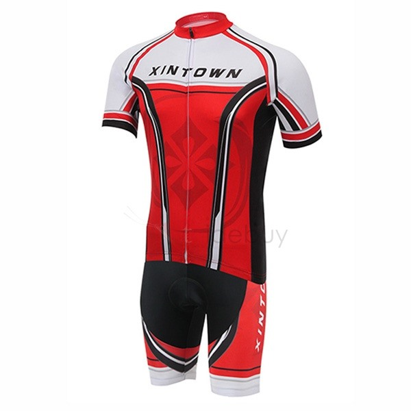 Red Short-Sleeve Men's Cycle Jersey And Bib Shorts