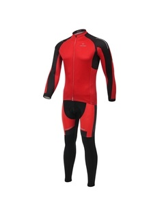 Red Long-Sleeve Cycle Jersey And Pant