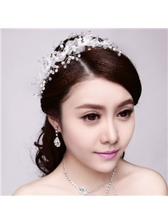 Pearls White Tulle Wedding Hair Flower Wedding Headpiece