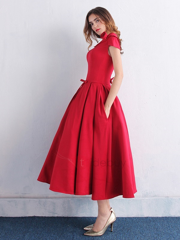 Scoop Neck Bowknot Pockets Tea-Length Prom Dress