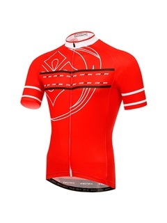 Polyester Red Full Zip Mens Bike Jersey