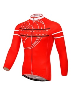 Red Long-Sleeve Cycle Jersey