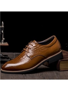 Embossed PU Square Heel Dress Shoes for Men