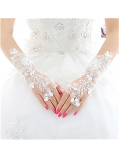 Ivory Lace Fingerless Wedding Gloves