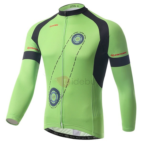 Gear-Print Long-Sleeve Men's Bike Jersey