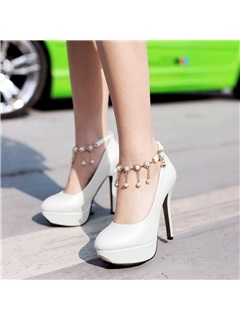 Beading PU Stiletto Heel Platform Prom Shoes