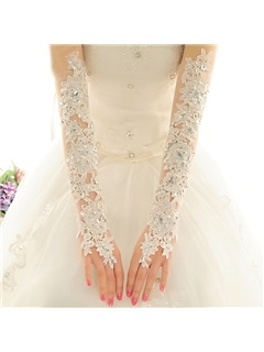 Beaded Lace Fingerless Long Wedding Gloves