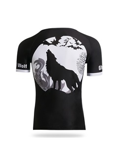 Wolf Tattoo-Print Fast-Drying Cycle Jersey