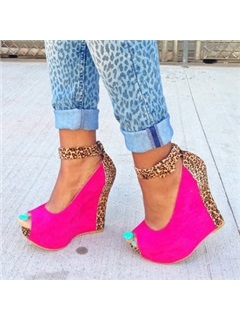 Leopard Printed Ankle Strap Peep-Toe Wedges