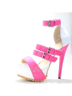 Color Block PU Stiletto Heel Sandals