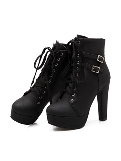 PU Buckles Platform Lace-Up Ankle Boots