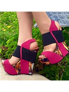 Printed Buckles Wedge Heel Sandals