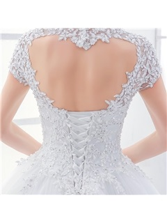 Lace Sweetheart Open Back Short Sleeve Ball Gown Wedding Dress