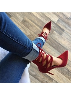 Red Pointed Toe Suede Lace-Up Pumps
