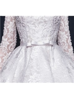 Fancy Bateau Neck Beading Bowknot High Low Lace Prom Dress