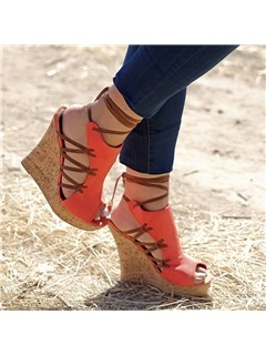 PU Peep-Toe Lace-Up Wedge Sandals