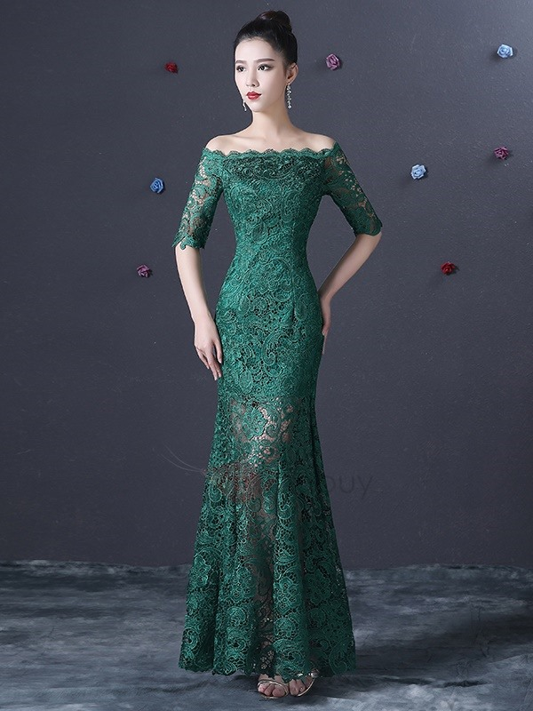 Off the Shoulder Half Sleeves Long Lace Evening Dress