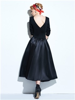 Vintage Long Sleeve Expansion Skater Dress