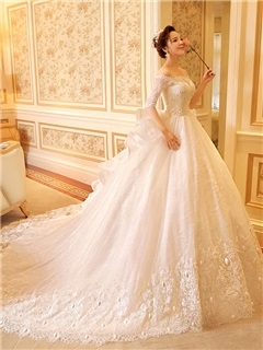 Beaded Lace Off the Shoulder Half Sleeve Ball Gown Wedding Dress