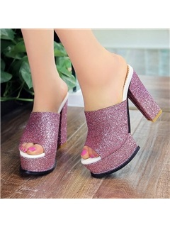Sequins Peep-Toe Chunky Heel Sandals