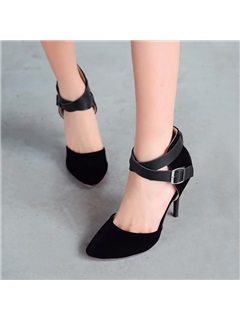 PU Buckles Covering Heel Sandals