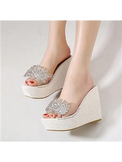 Rhinestone Sequins Slip-On Wedge