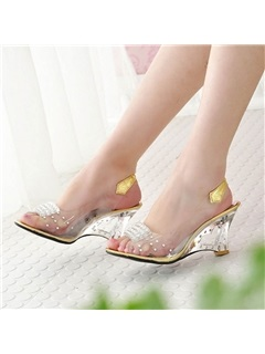 Rhinestone PVC Peep-Toe Wedge Sandals