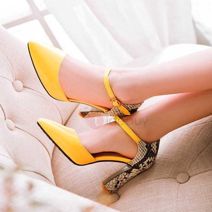 Snake Skin Printed Pointed Toe Classic Pumps