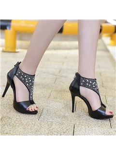 PU Rhinestone Back-Zip Sandals