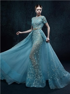 Dramatic Short Sleeves Sash A-Line Appliques Long Evening Dress