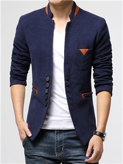 Peaked Lapel Single-Breasted Men's Slim Fit Blazer