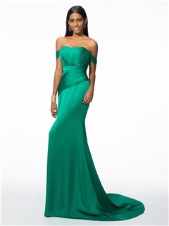 Off the Shoulder Pleats Long Evening Dress