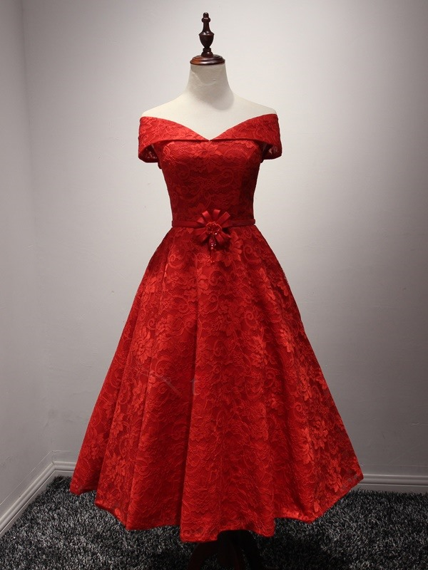 Off the Shoulder Tea-Length Red Lace Prom Dress