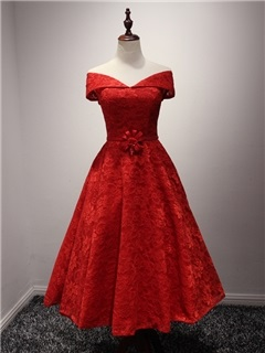 Off The Shoulder Tea Length Red Lace Prom Dress