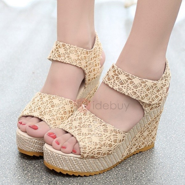 European PU Velcro Wedge Sandals