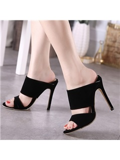 Black Suede Stiletto Heel Slip-On Sandals