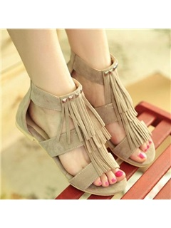 Suede Tassels Open-Toe Flat Sandals