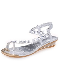 Crystal Ring-Toe Flat Sandals