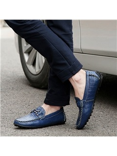 Embossed PU Low-Cut Loafers