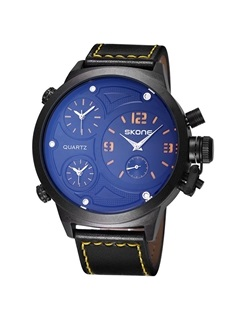 Round Alloy Cover Pu Band Watch for Men