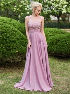 Beautiful Scoop A Line Long Bridesmaid Dress