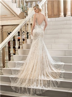Attractive Backless Lace Mermaid Wedding Dress