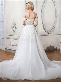 Charming Off the Shoulder Appliques Asymmetry A Line Wedding Dress