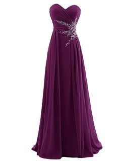 A-Line Sweetheart Pleats Beading Chiffon Prom Dress