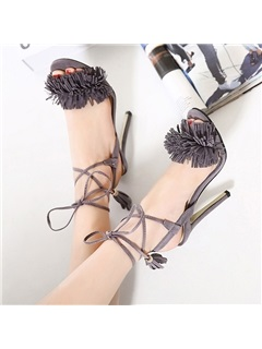 Suede Tassels Lace-Up Sandals