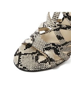 Snakeskin Printed Cut-Out Sandals