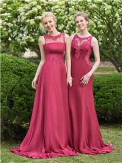 Beautiful Illusion Neckline Sheath Long Bridesmaid Dress